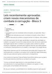 Leis recentemente aprovadas criam novos mecanismos de combate à corrupção - Rádio - Câmara Notícias - Portal da Câmara dos Deputados.pdf