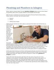 Plumbing and Plumbers in Islington.doc